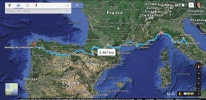 Autor criou o possível itinerário percorrido por Francisco entre 1213 e 1215